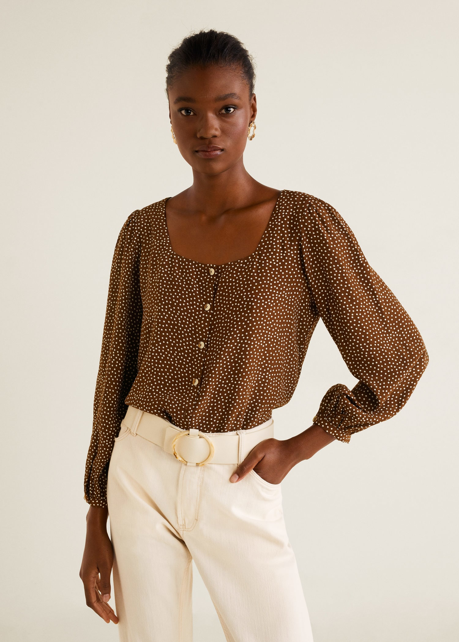 Polka Dot Print Blouse Brown