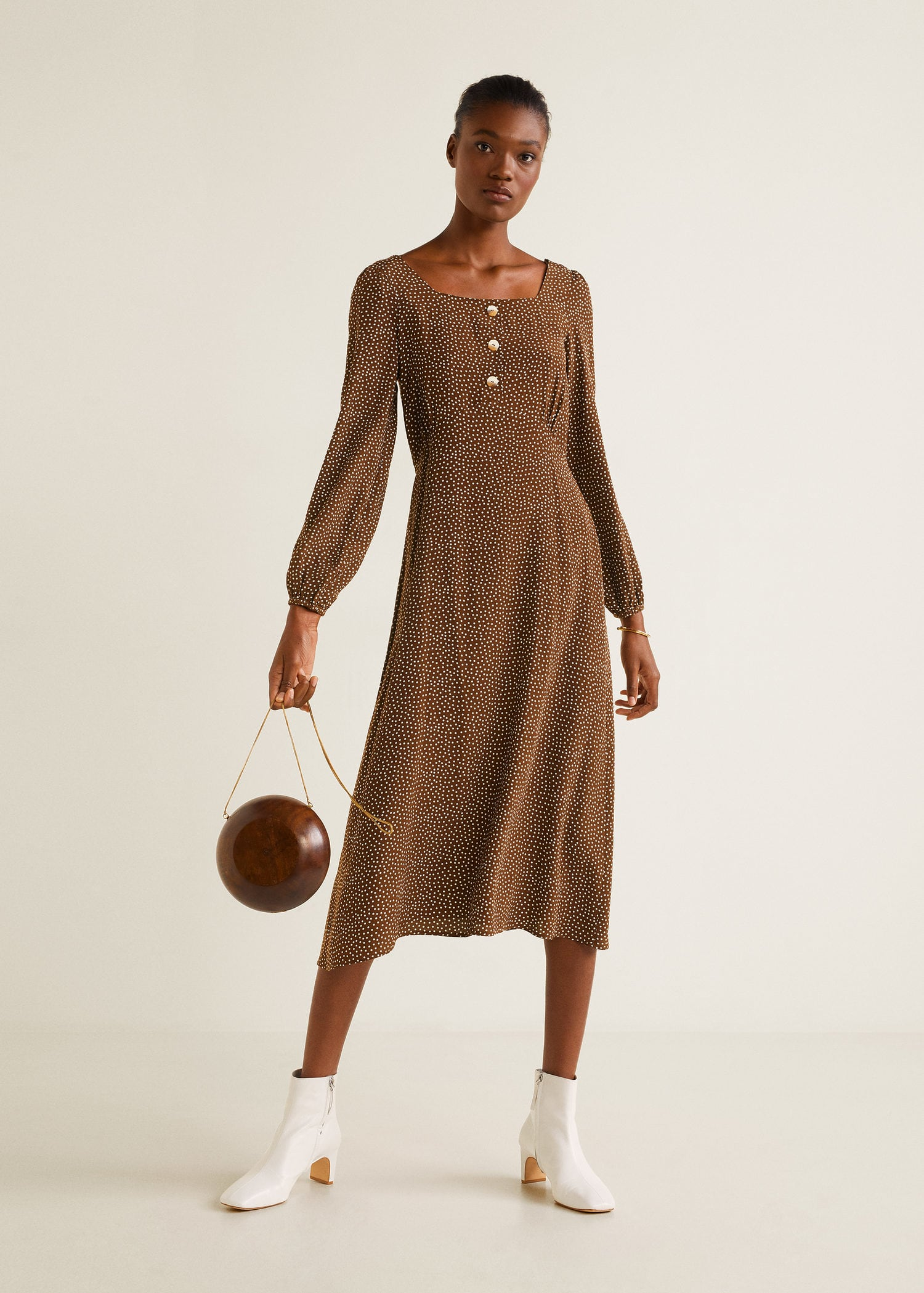 Polka Dot Print Midi Dress Brown