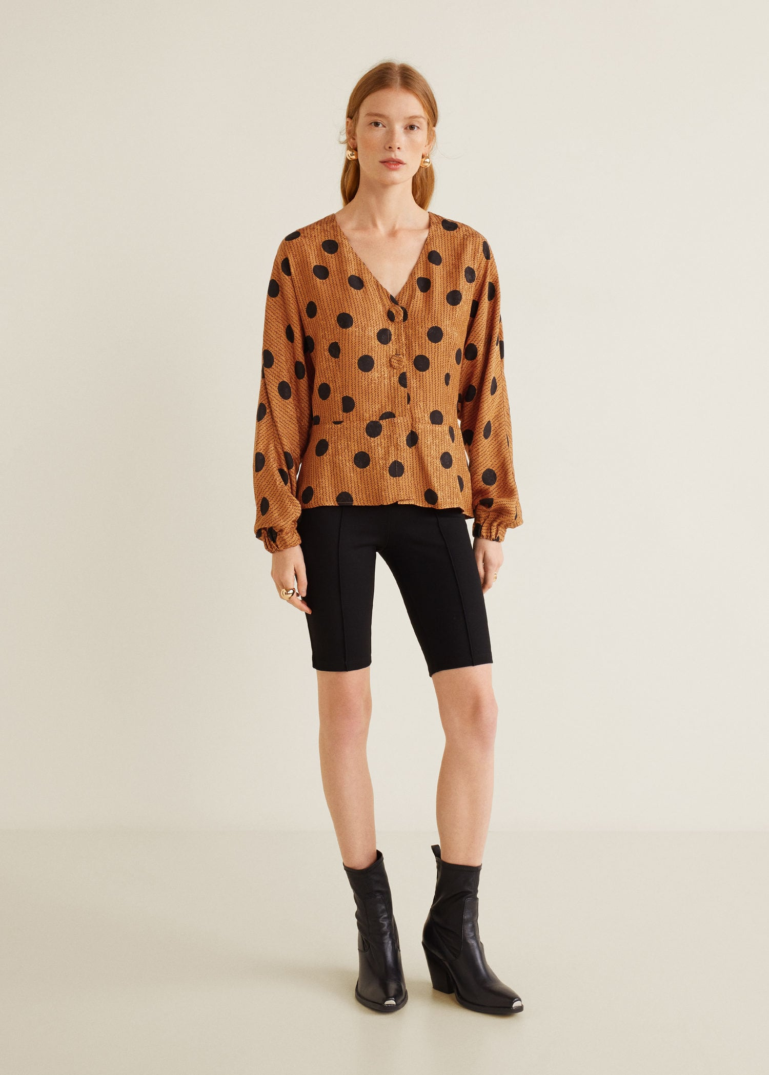 Polka Dot Print Blouse Puffed Sleeves