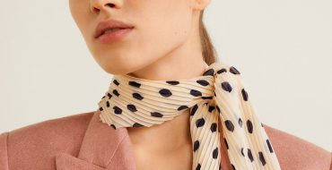 Printed Pleated Scarf Polka Dots