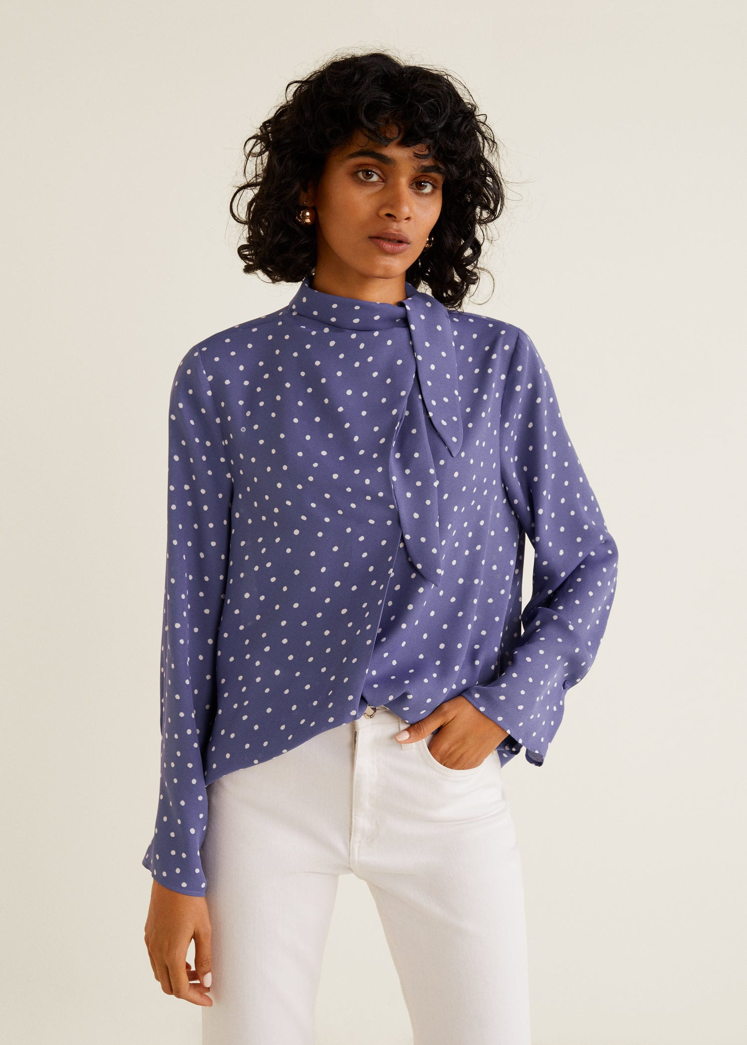 Tie Neck Blouse Polka Dot Blue