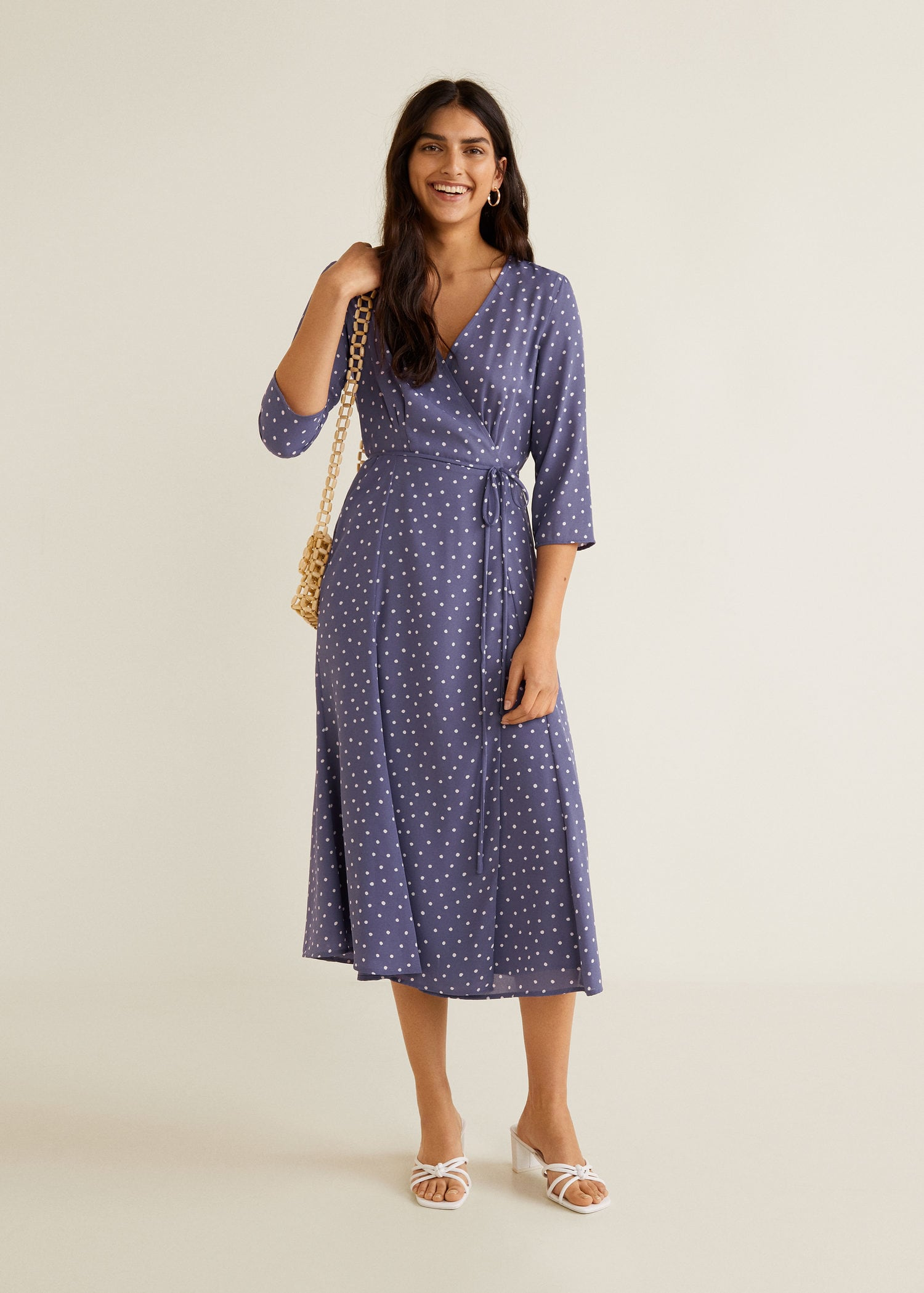 Wrap Front Polka Dot Midi Dress Lilac Pastel Purple