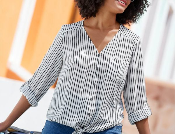 Tie Front Striped Long Sleeve Blouse