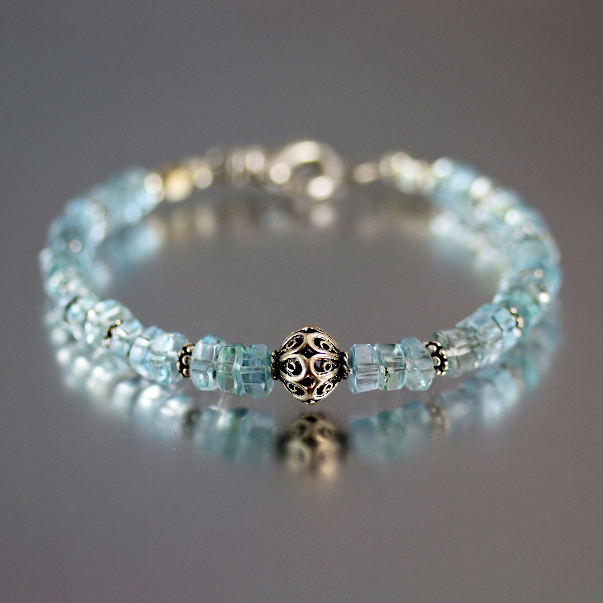 Aquamarine Hexagonal Bead Bracelet Sterling Silver