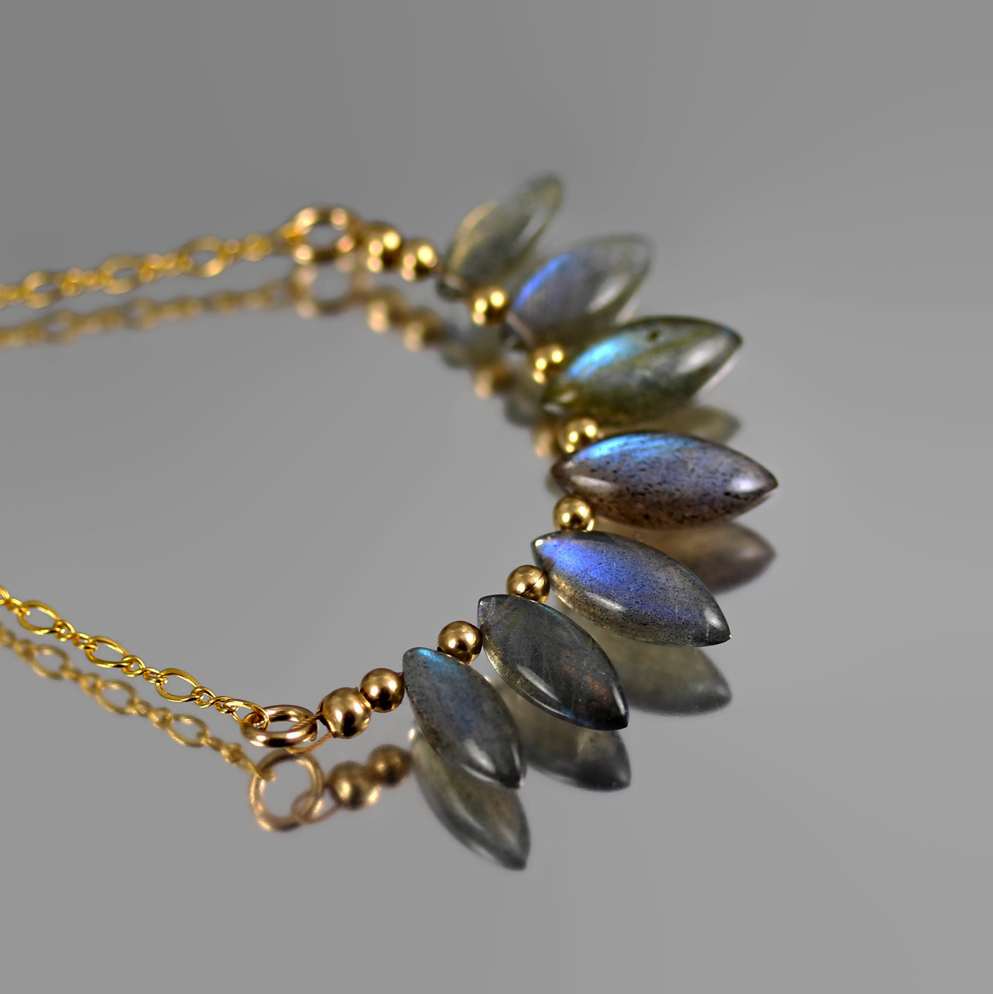Labradorite Bead Marquise Necklace