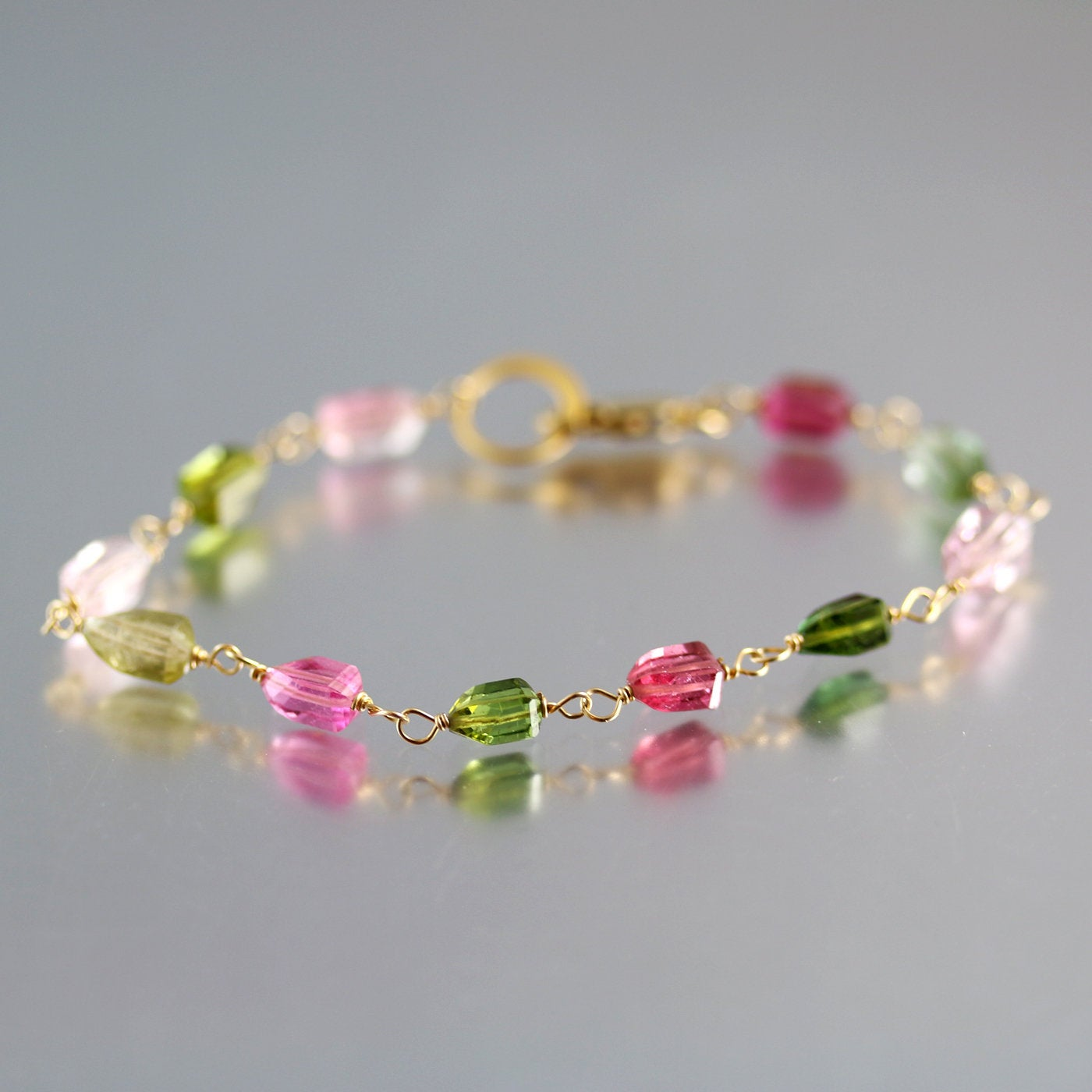 Watermelon Tourmaline Pink Green Yellow Gemstone Bracelet