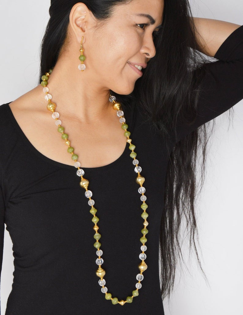 Wrap Around Long Layered Crystal Quartz Necklace