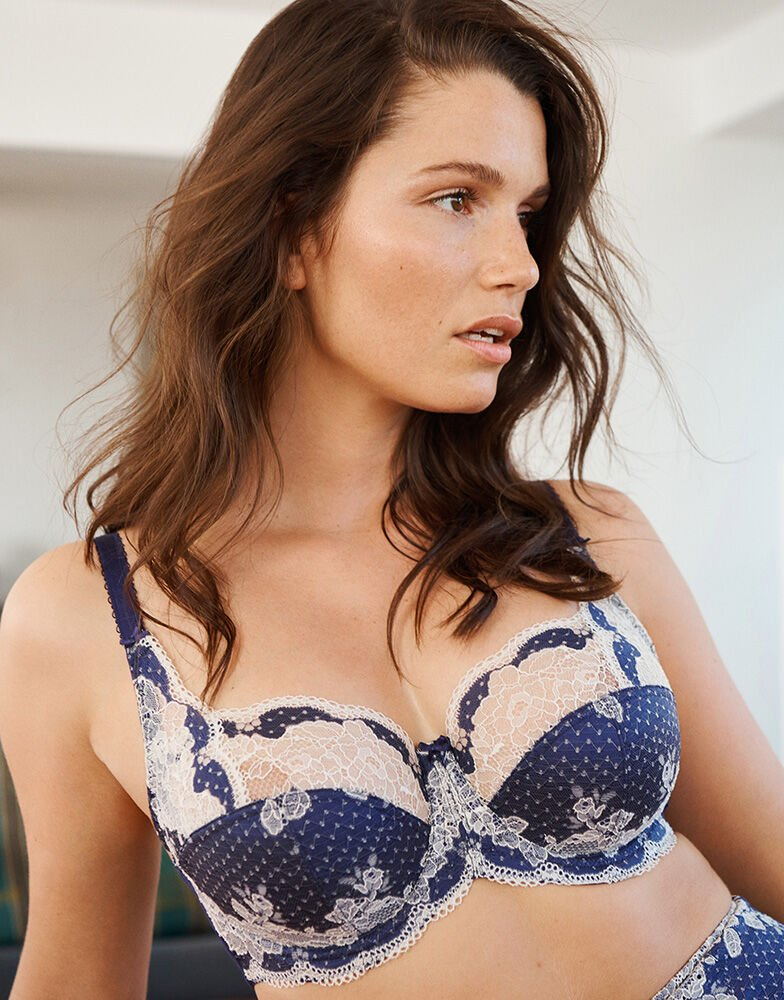 Panache Clara Full Cup Bra Figleaves Navy Floral Embroidery