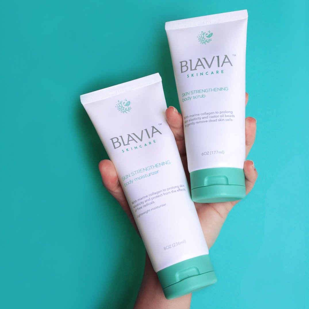 Blavia Skincare Duo Rich Body Moisturiser and Body Scrub