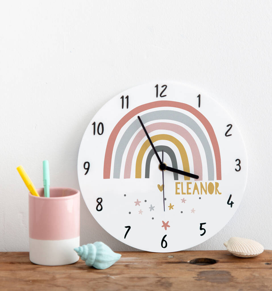Modern Rainbow Personalised Name Bedroom Clock
