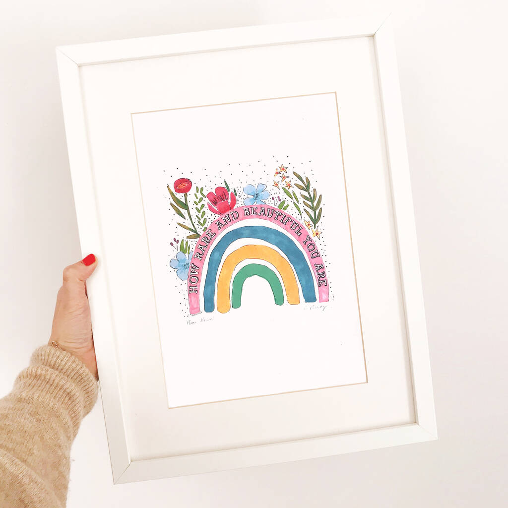 Framed Rainbow Print Illustration For The Home