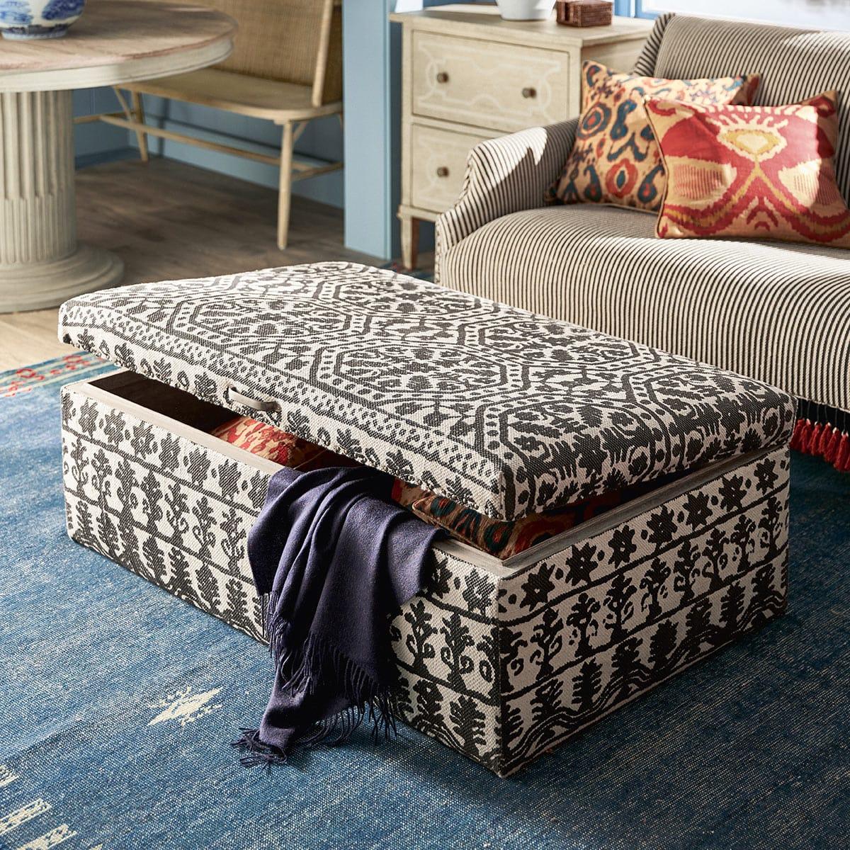 Cranesbill Upholstered Ottoman Soft Charcoal