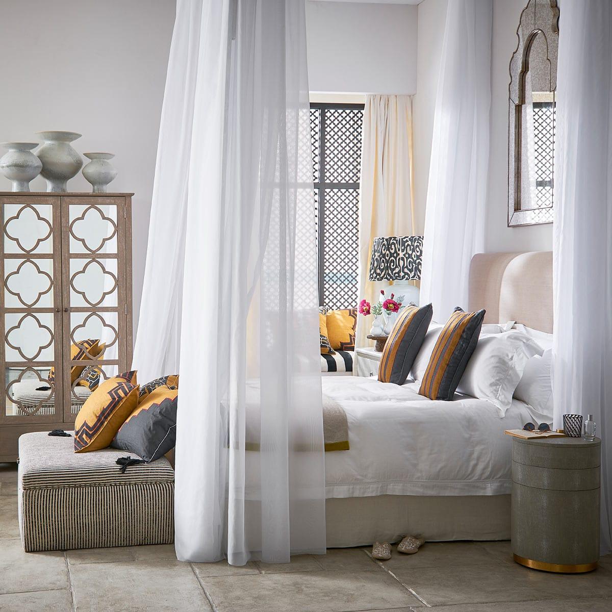 Upholstered Heavyweight Striped Cotton Ottoman