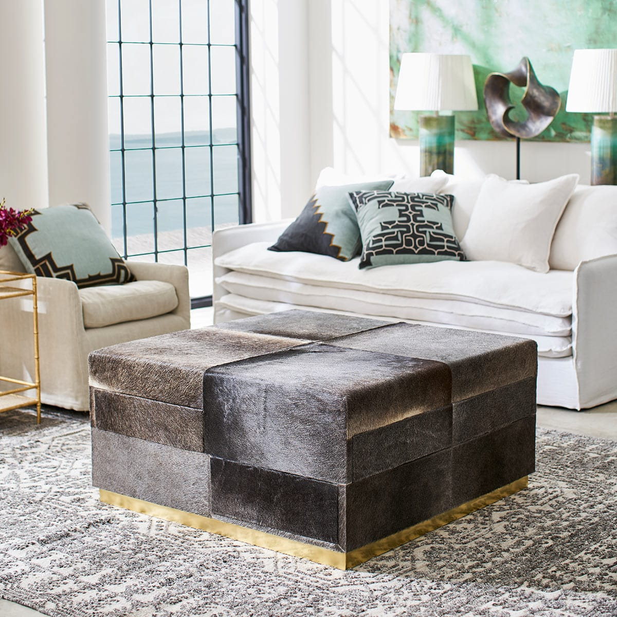 Cow Hide Ottoman With Storage Drawers Grey