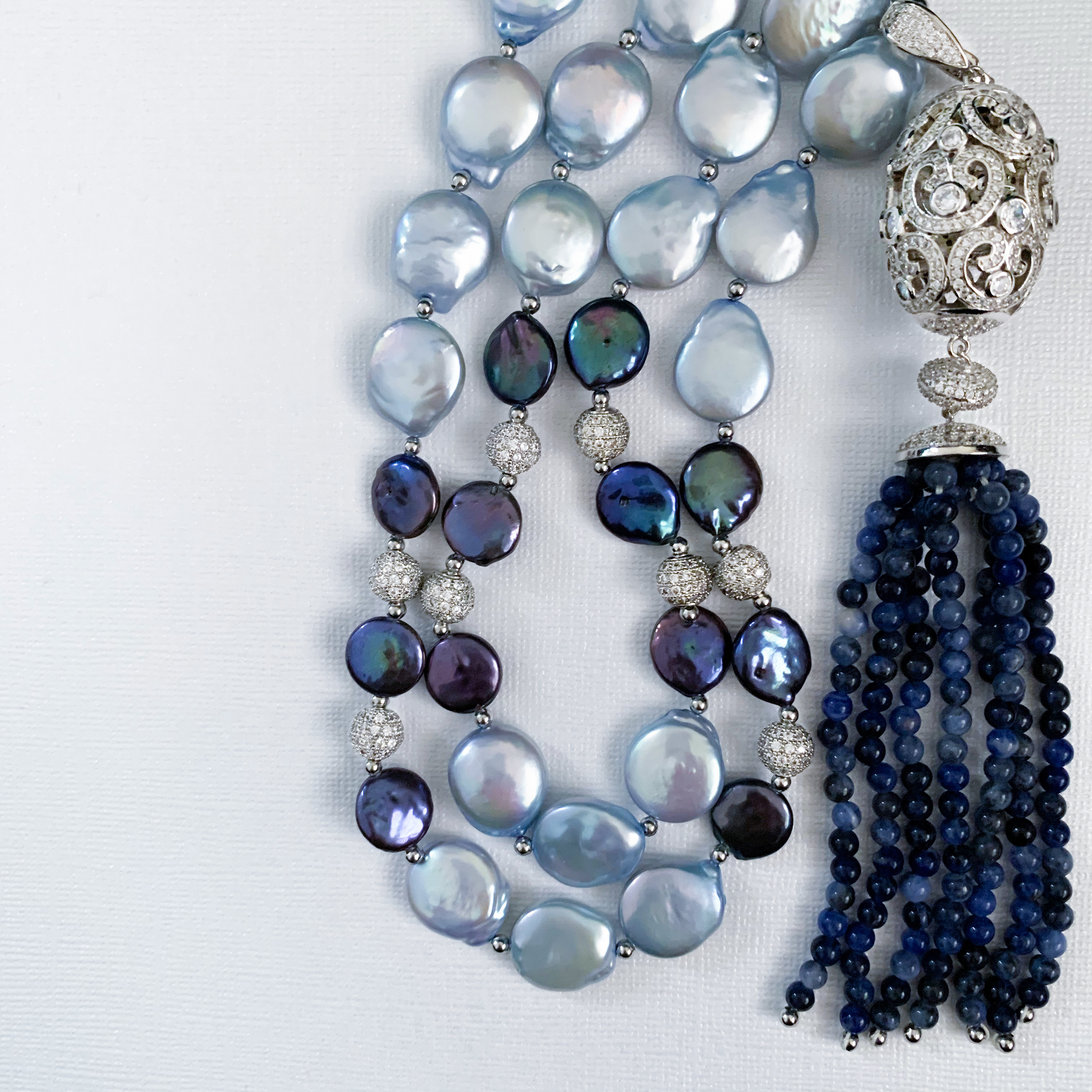Lorette Blue Baroque Coin Pearl with Luxe Silver Pendant Necklace