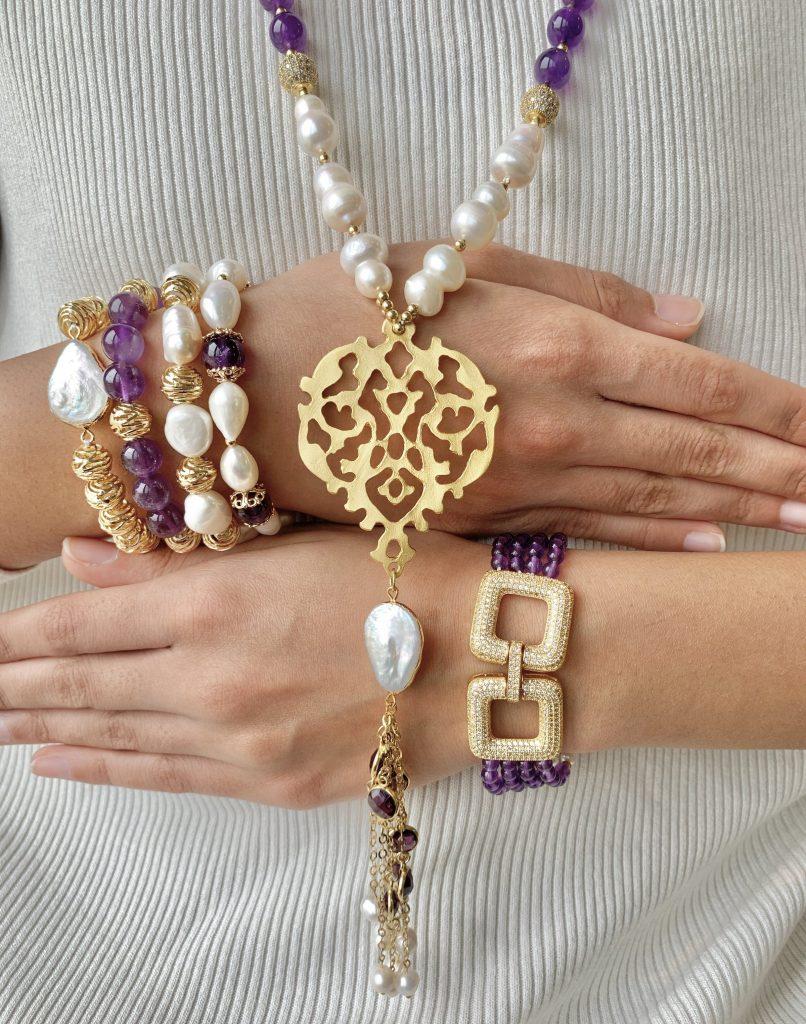 Simra Jewellery Set Amethyst Gold Pearl
