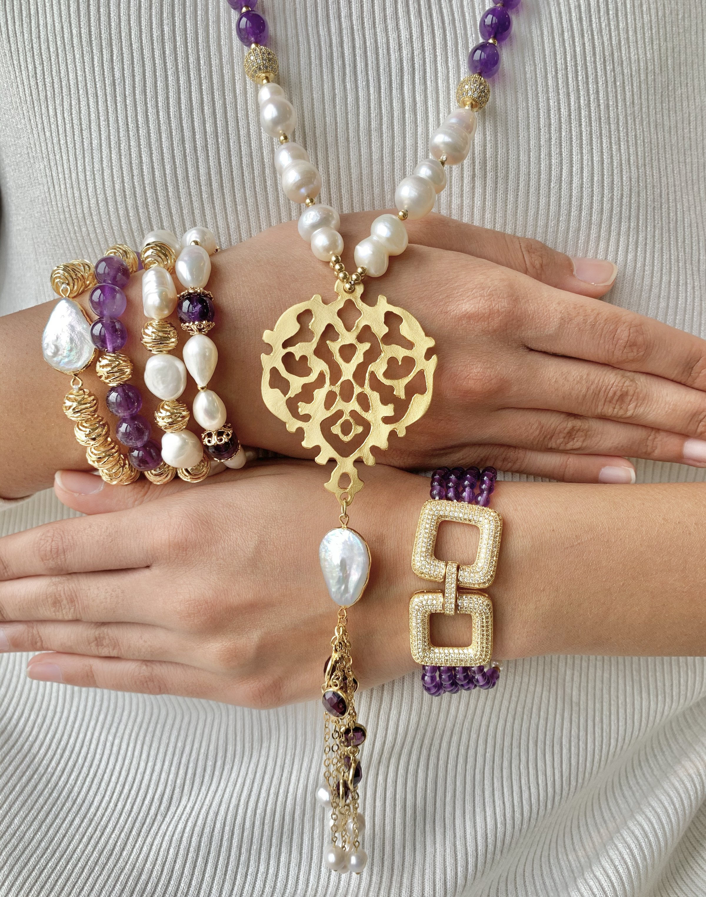 Simra Jewellery Set Amethyst Gold Pearl