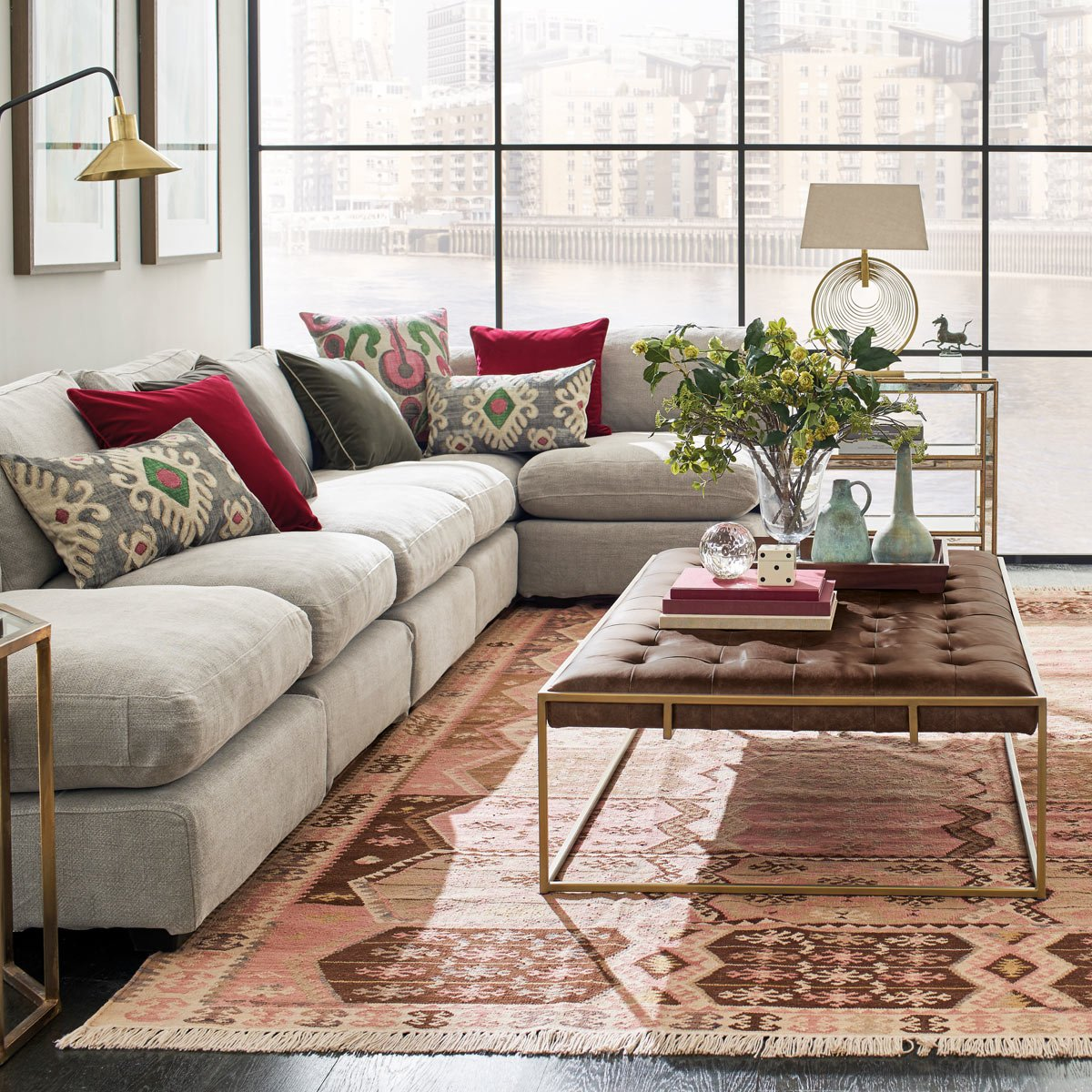 Wallace Coffee Table Ottoman Aged Hazelnut Brown Leather Upholstery OKA Luxury Storage Solution