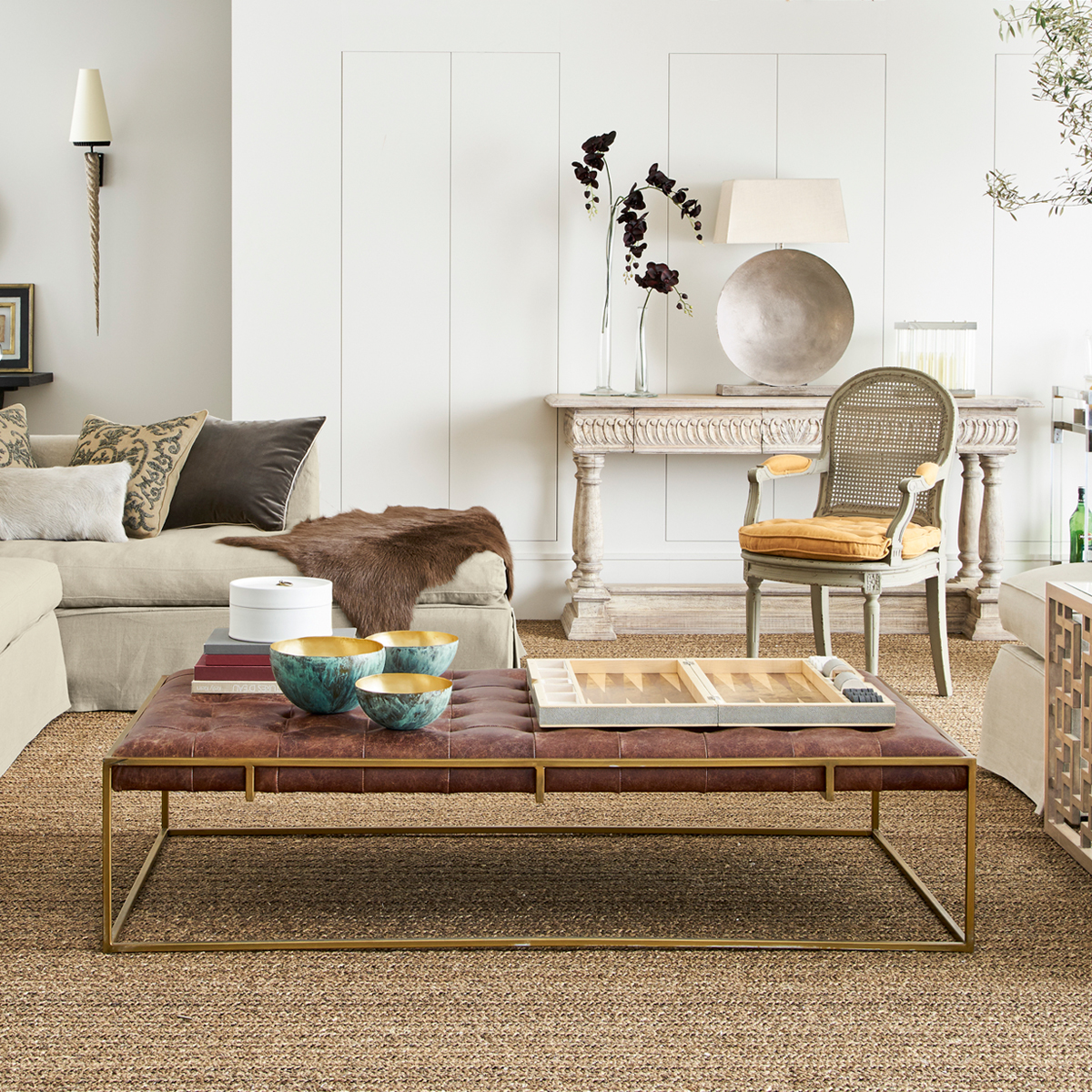Coffee Table Ottoman Brown Leather
