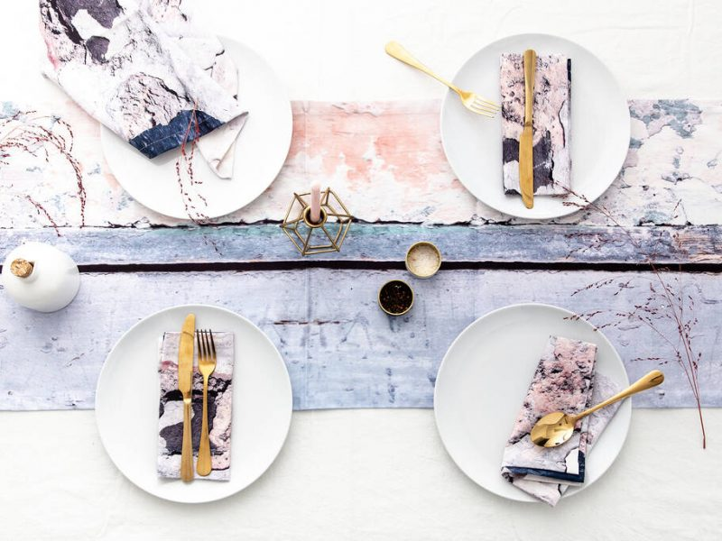 Abstract Textured Cotton Table Runner Aspect Stripe Ruth Holly