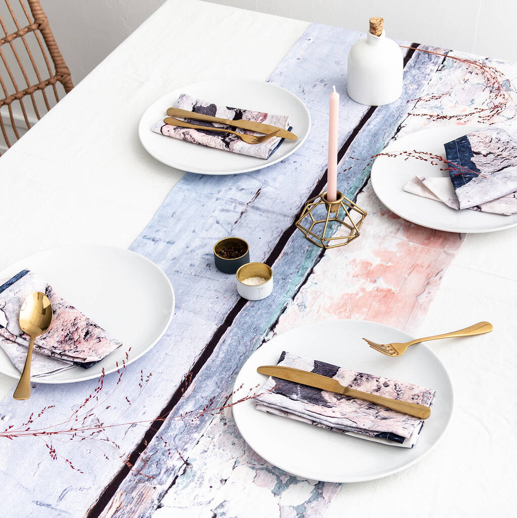 Abstract Textured Cotton Table Runner