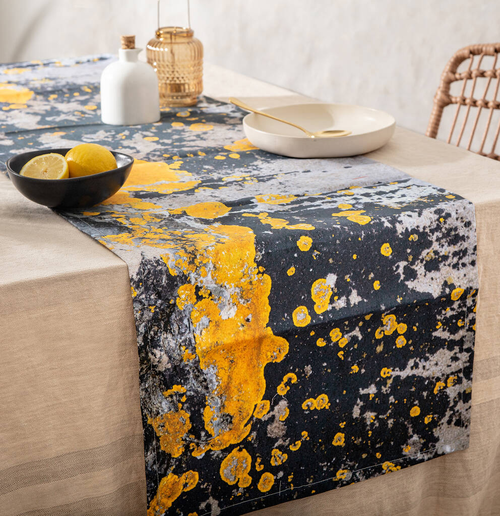 Yellow And Charcoal Grey Table Runner Nomad Splash