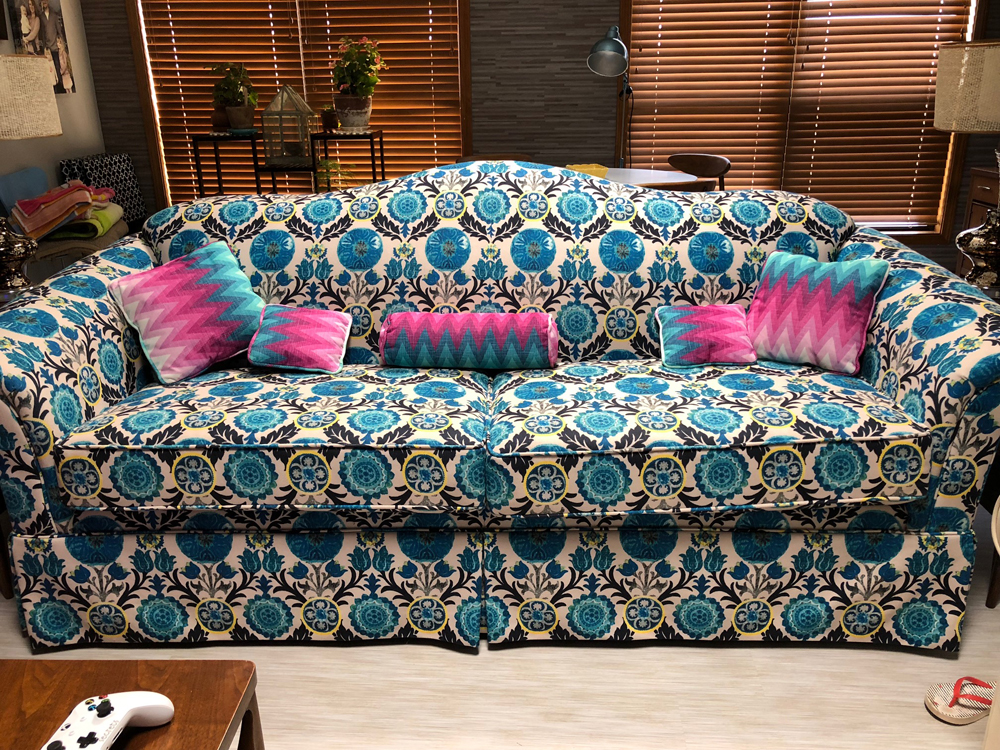 Freedom Printed Velvet Fabric Collection Colourful Blue Green Colour Floral Theme Pattern Upholstery Fabric CTR-91