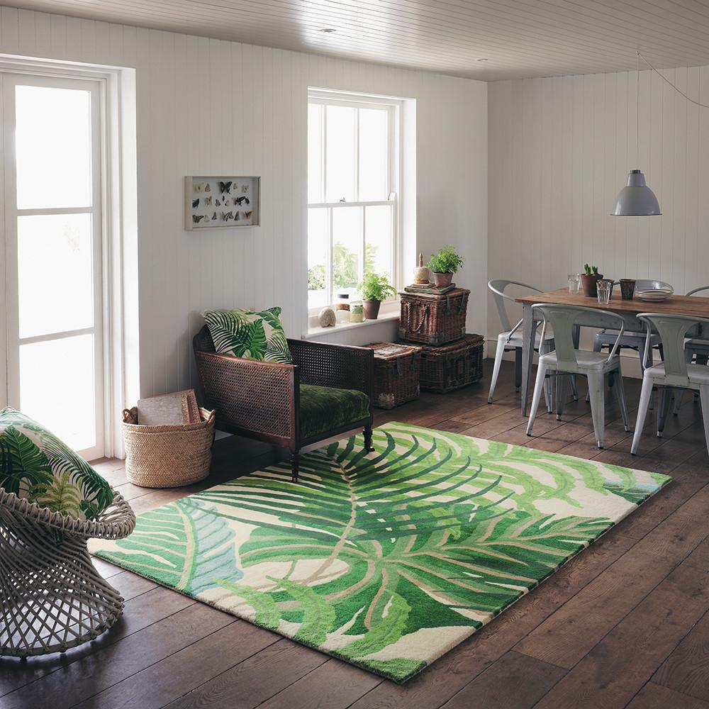 Manila Rug Green Tropical Leaf Design Rectangular Rug 100% Wool