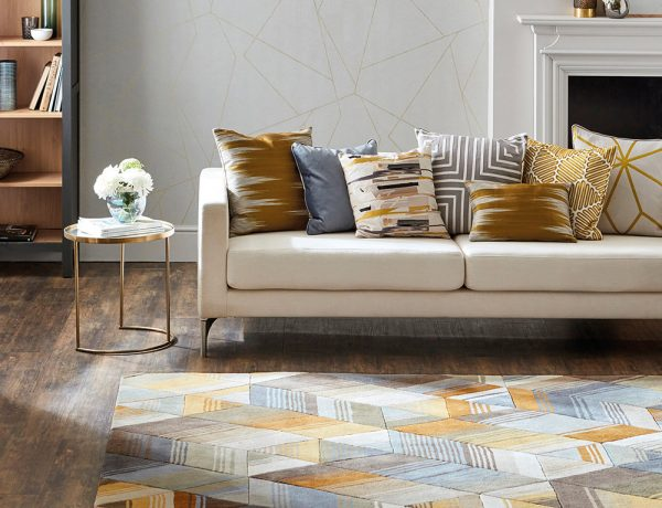 Harlequin Arccos Rug Ochre Pure New Wool Geometric Design Rectangular Rug