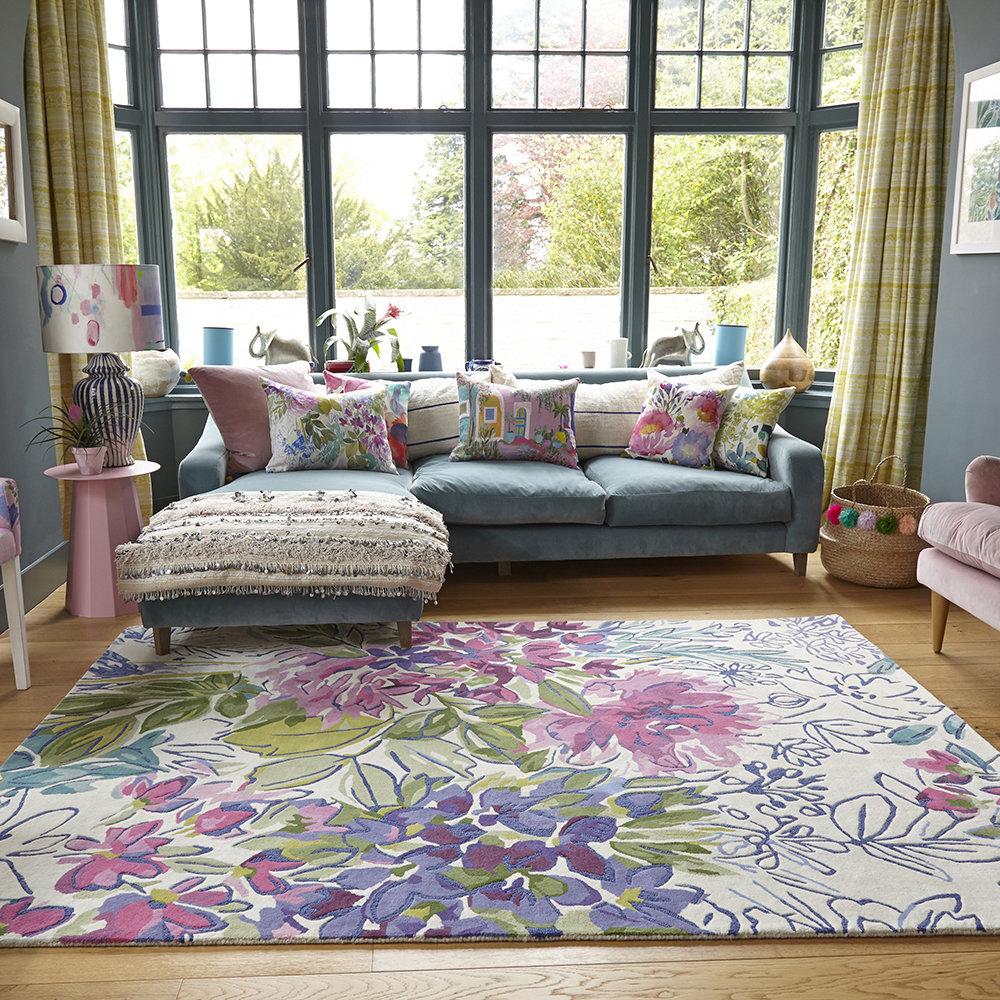Bluebellgray Ines Jardin Rug Wool Viscose Floral Rectangular Rug