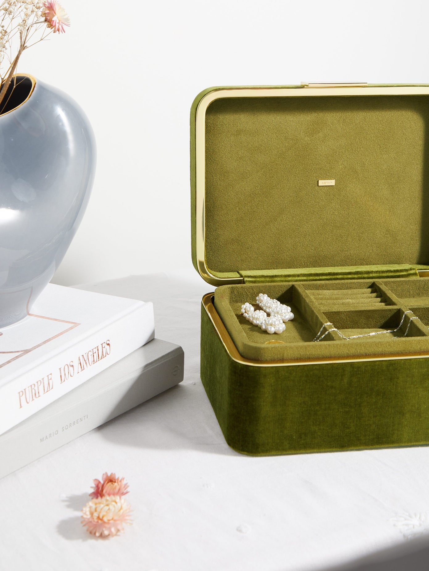 Aerin Beauvais Luxury Green Velvet Jewellery Box