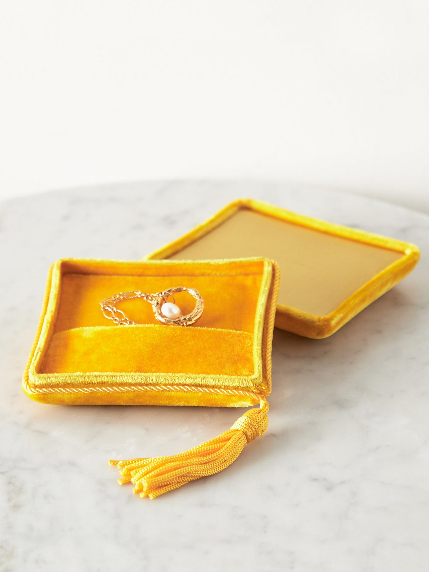 Sophie Bille Brahe Yellow Velvet Jewellery Box