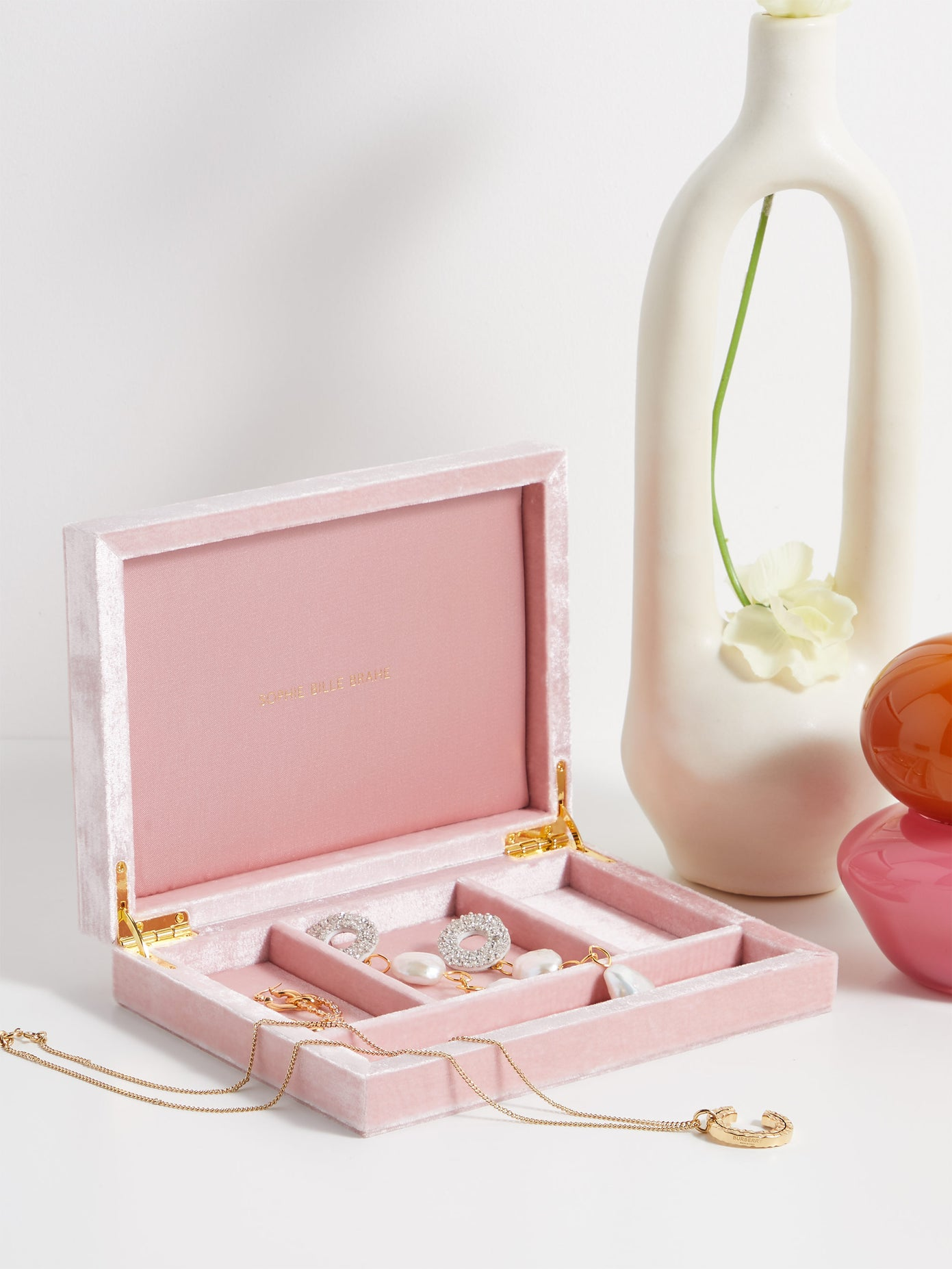 Sophie Bille Brahe Pink Velvet Jewellery Box