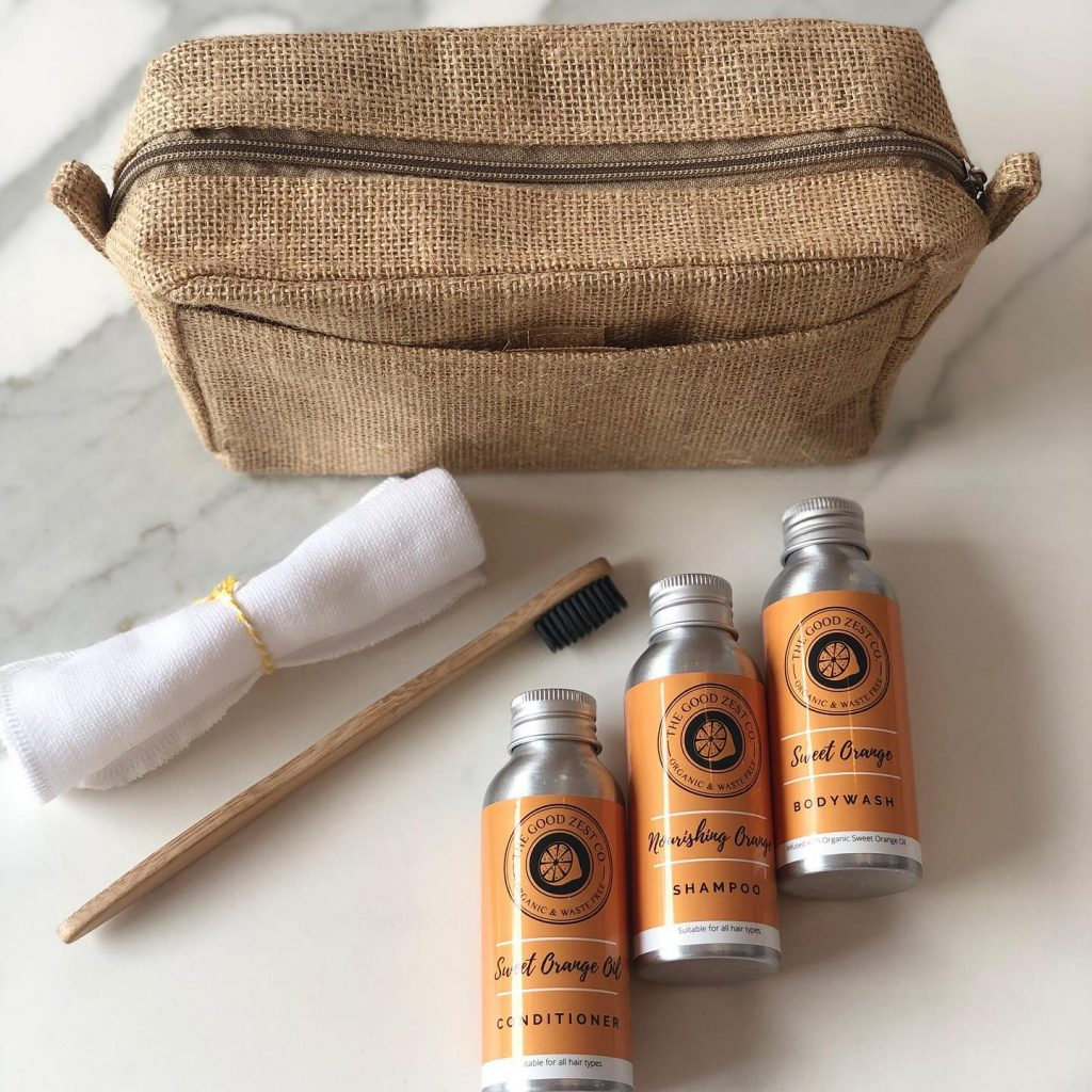 The Good Zest Company Weekend-Away Travel Set Zero Plastic Organic Sweet Orange Essential Oil