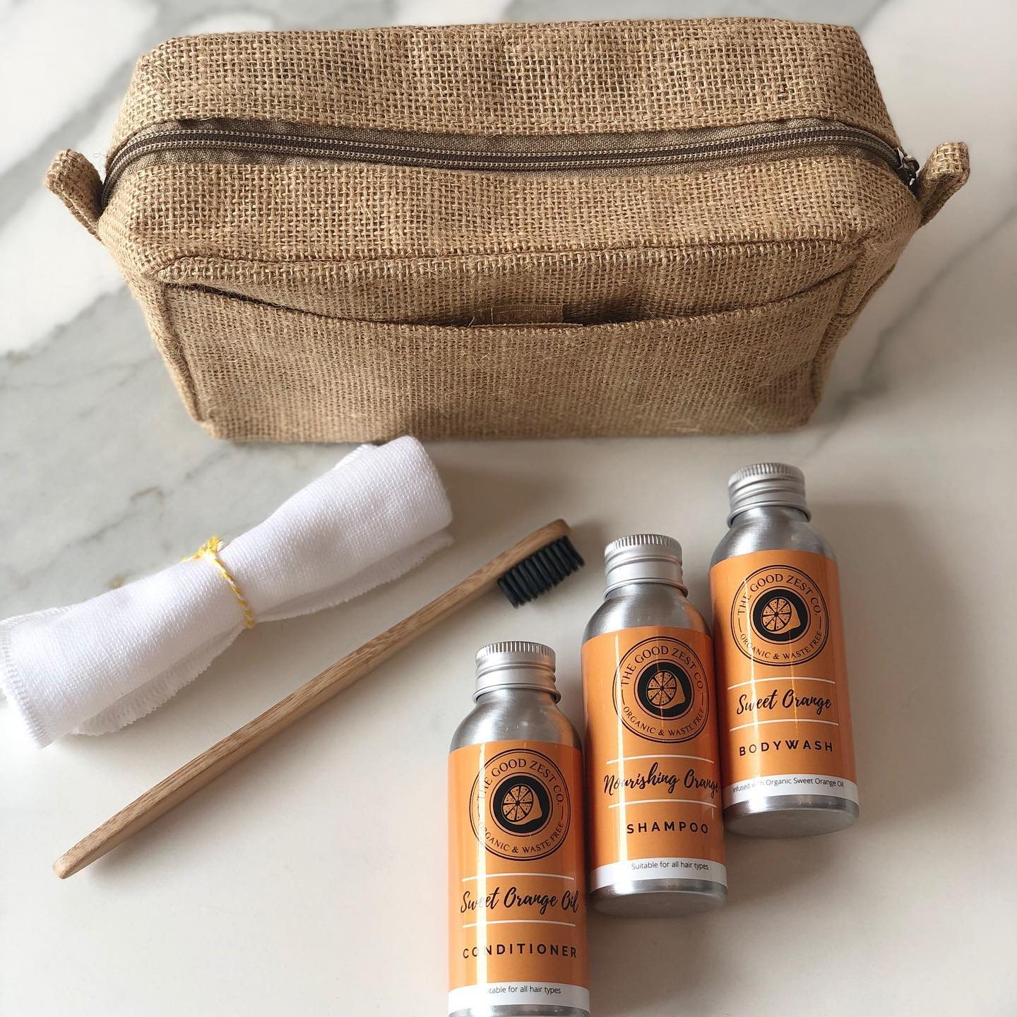 The Good Zest Company Weekend-Away Travel Set Zero Plastic Organic Sweet Orange Essential Oil
