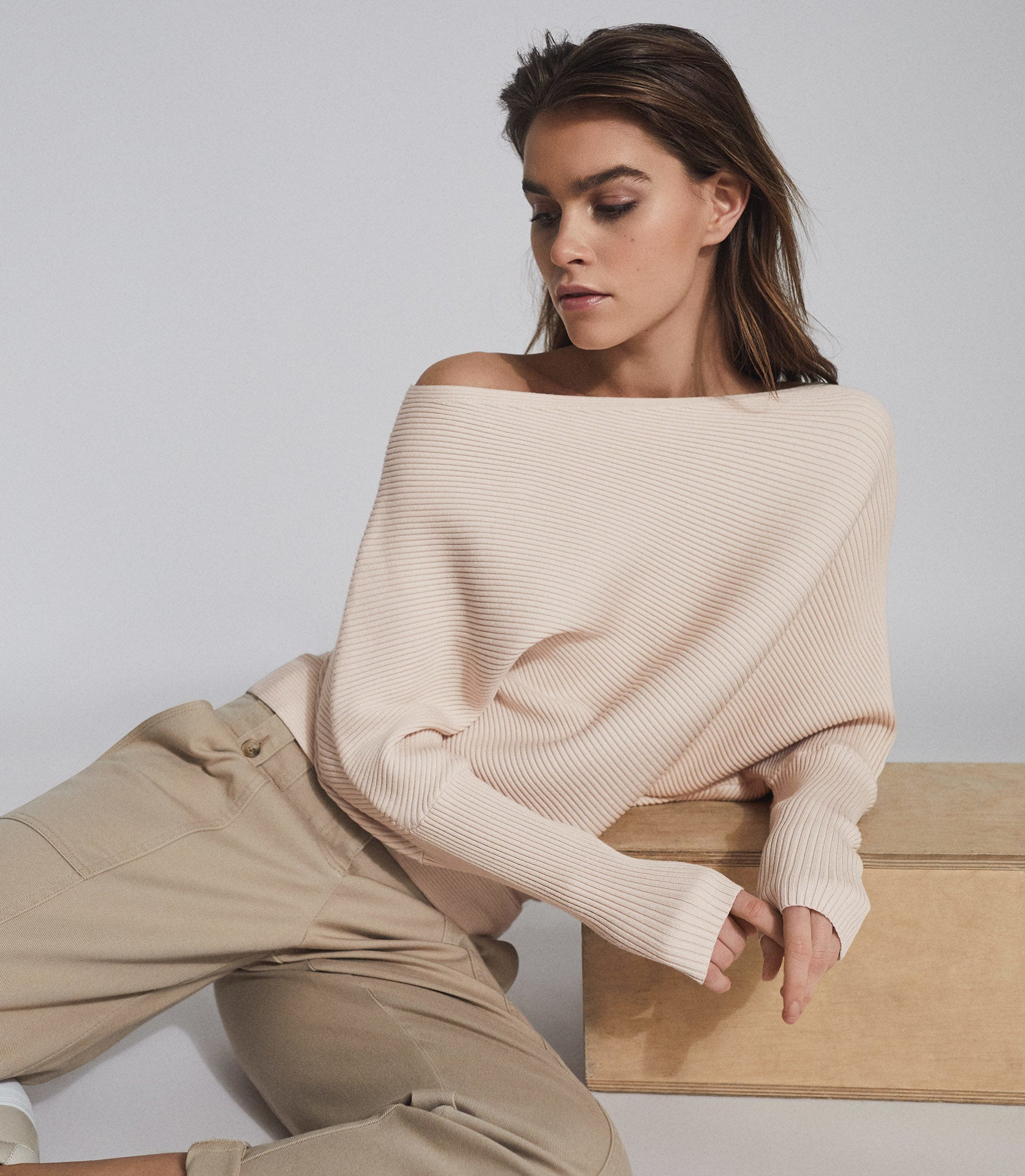 Asymmetric Knitted Top Blush