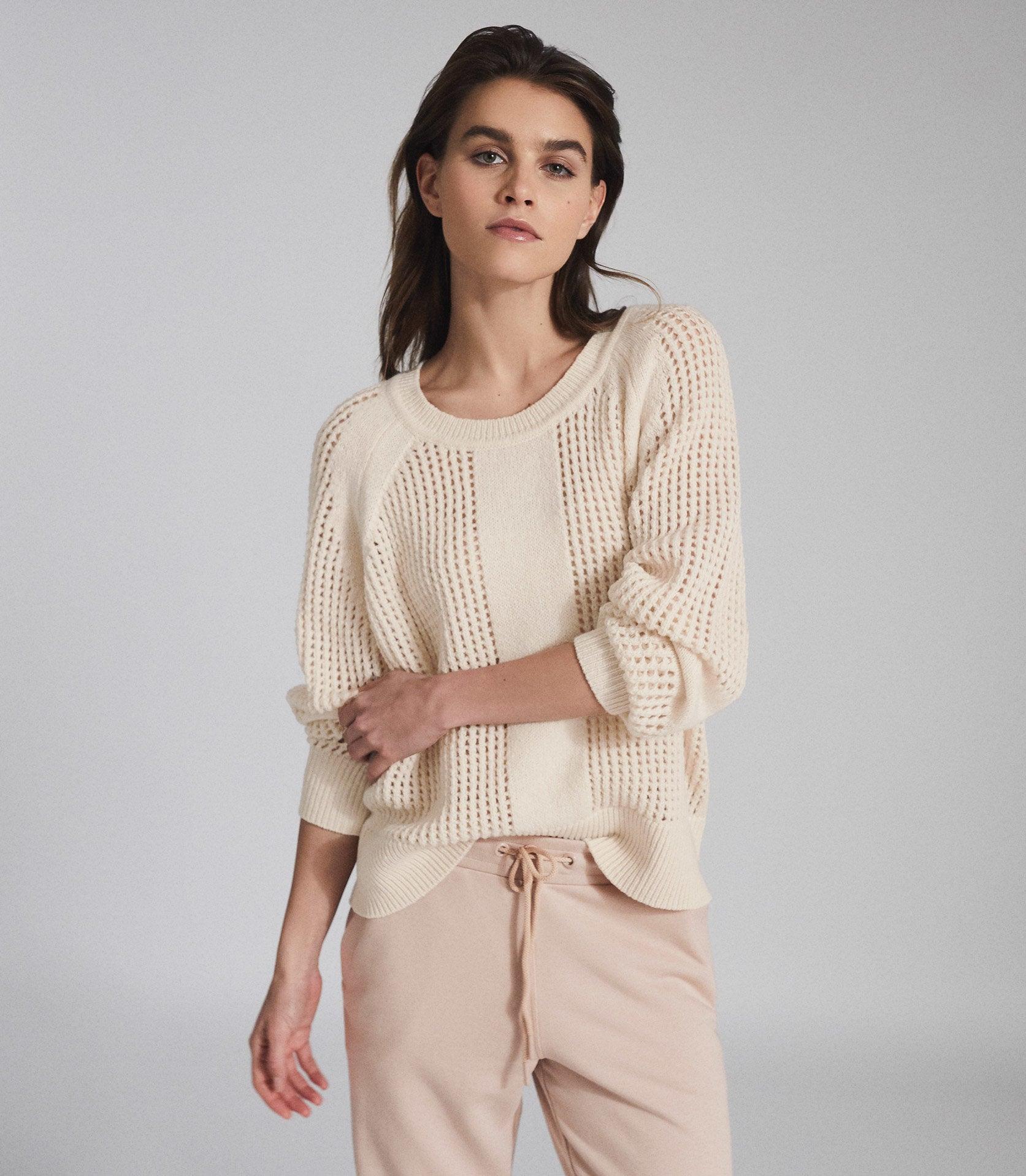 Wool Blend Open Knit Jumper Cream