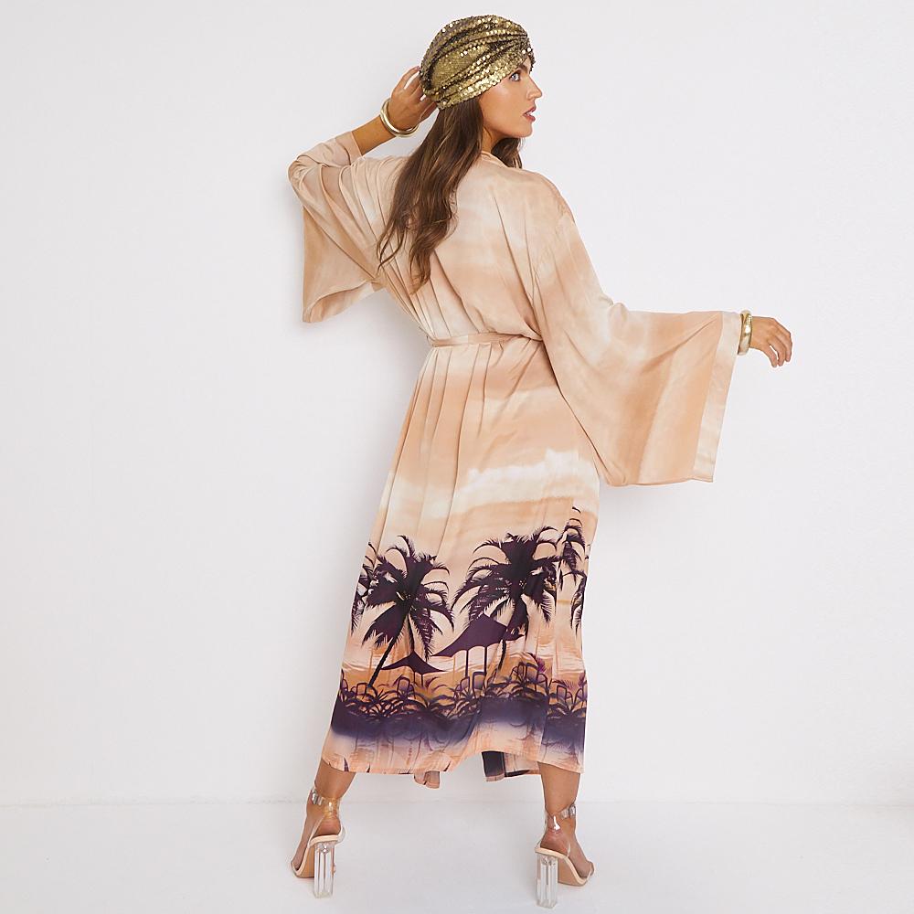 Luxury Beach Coverup Japanese Style Maxi Kimono