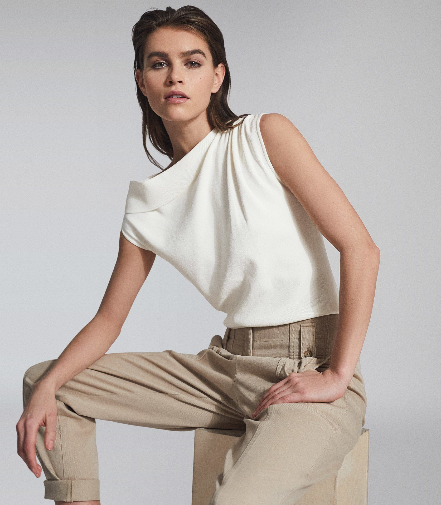 Asymmetric Fine Knit Top Ivory