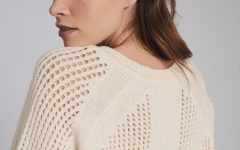Wool Blend Open Knit Jumper Cream Women's Knitwear Jumper