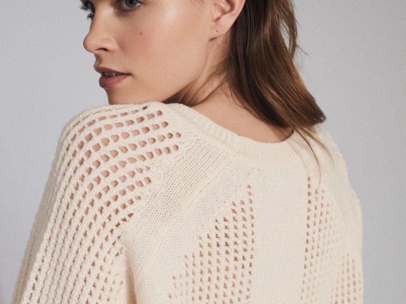 Wool Blend Open Knit Jumper Cream Women's Knitwear Jumper