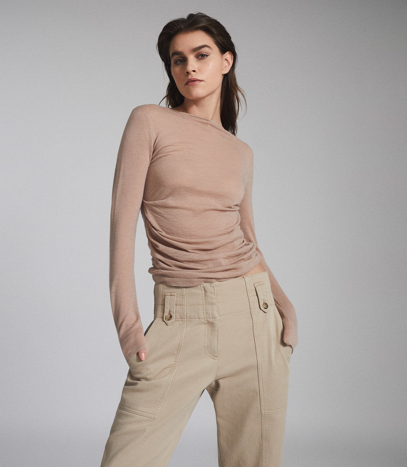 Wool Cashmere Blend Ruched Top Blush