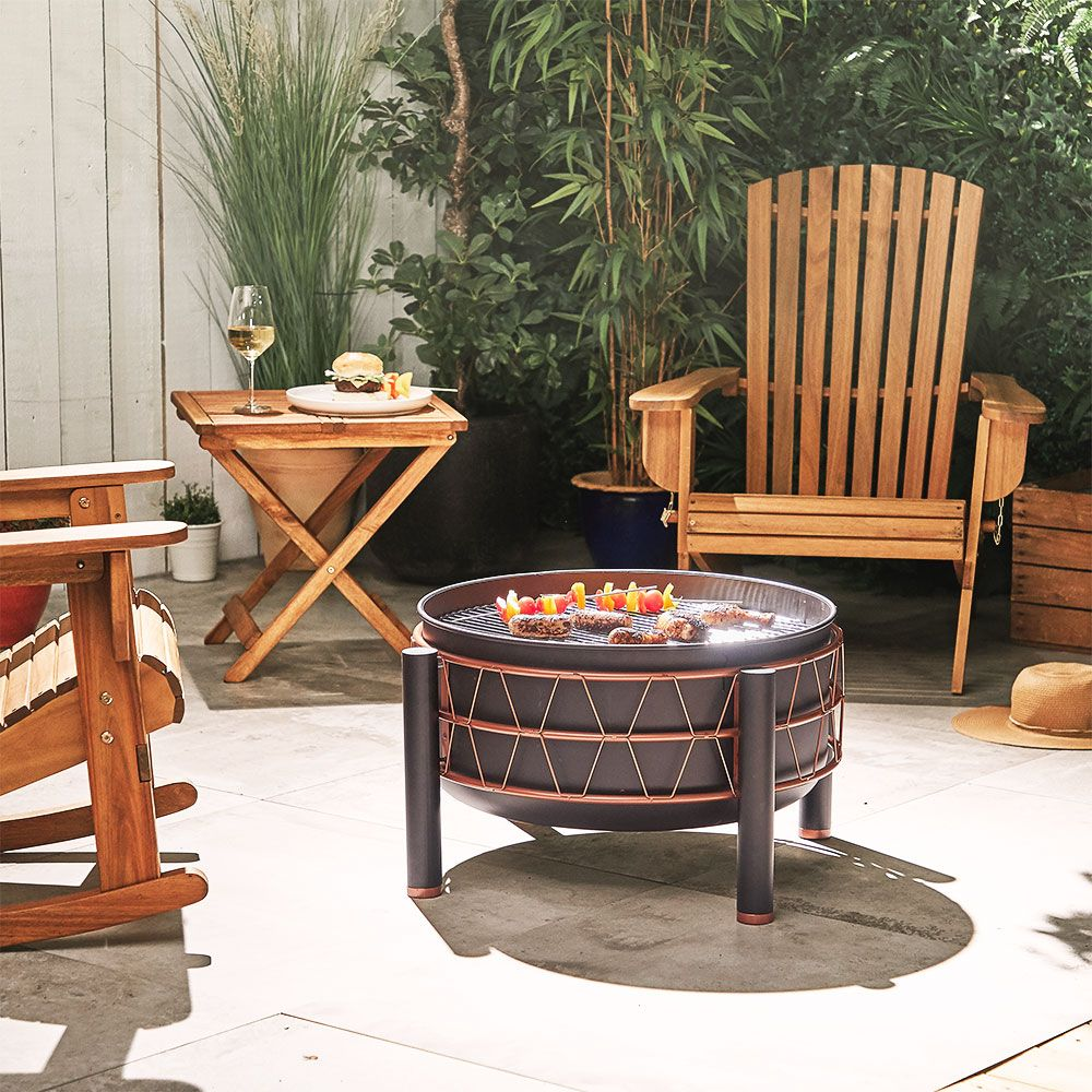 Black and Copper Round Outdoor Fire Pit Grill