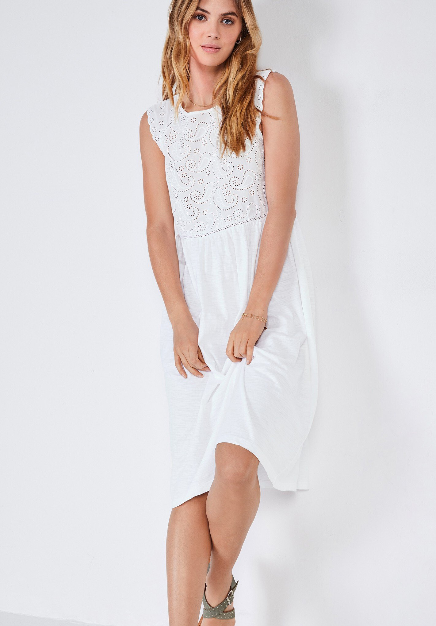 Hush Broderie Jersey Dress White 100% Cotton
