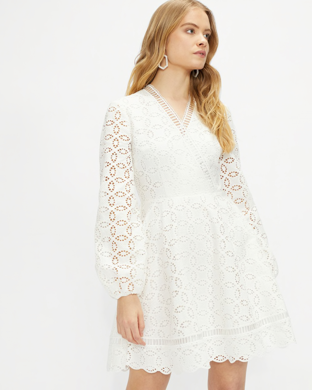 LIYAA Broderie Long Sleeve Mini Dress Ted Baker White