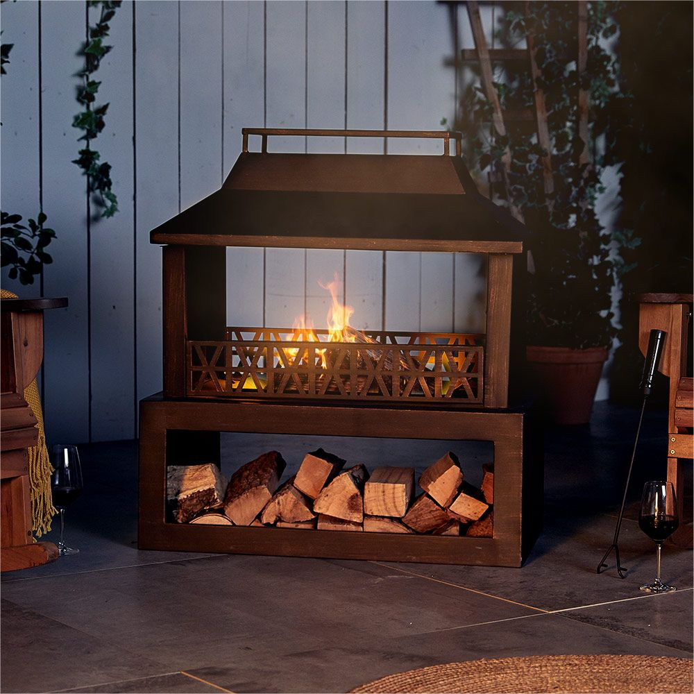 Outdoor Fireplace Black Steel with Log Store