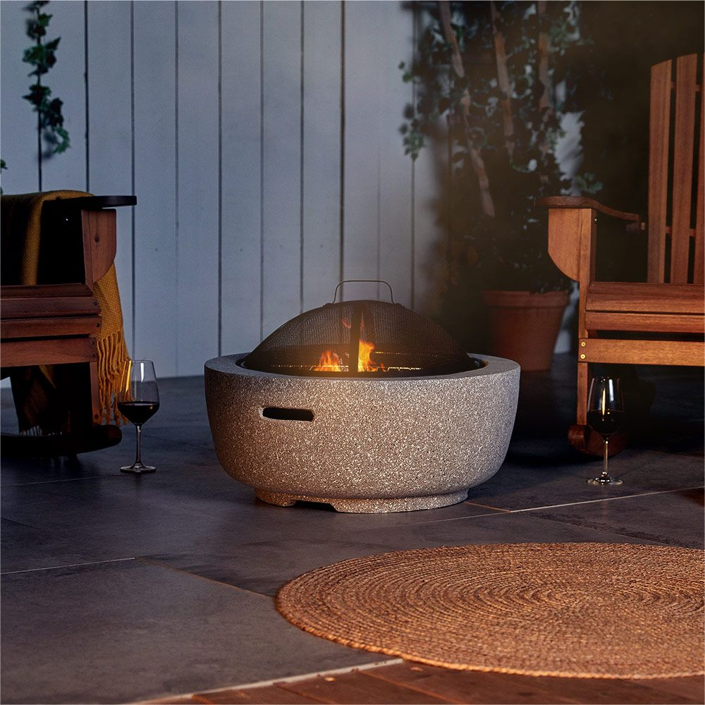 Round MgO Concrete Grey Fire Pit Bowl BBQ Grill