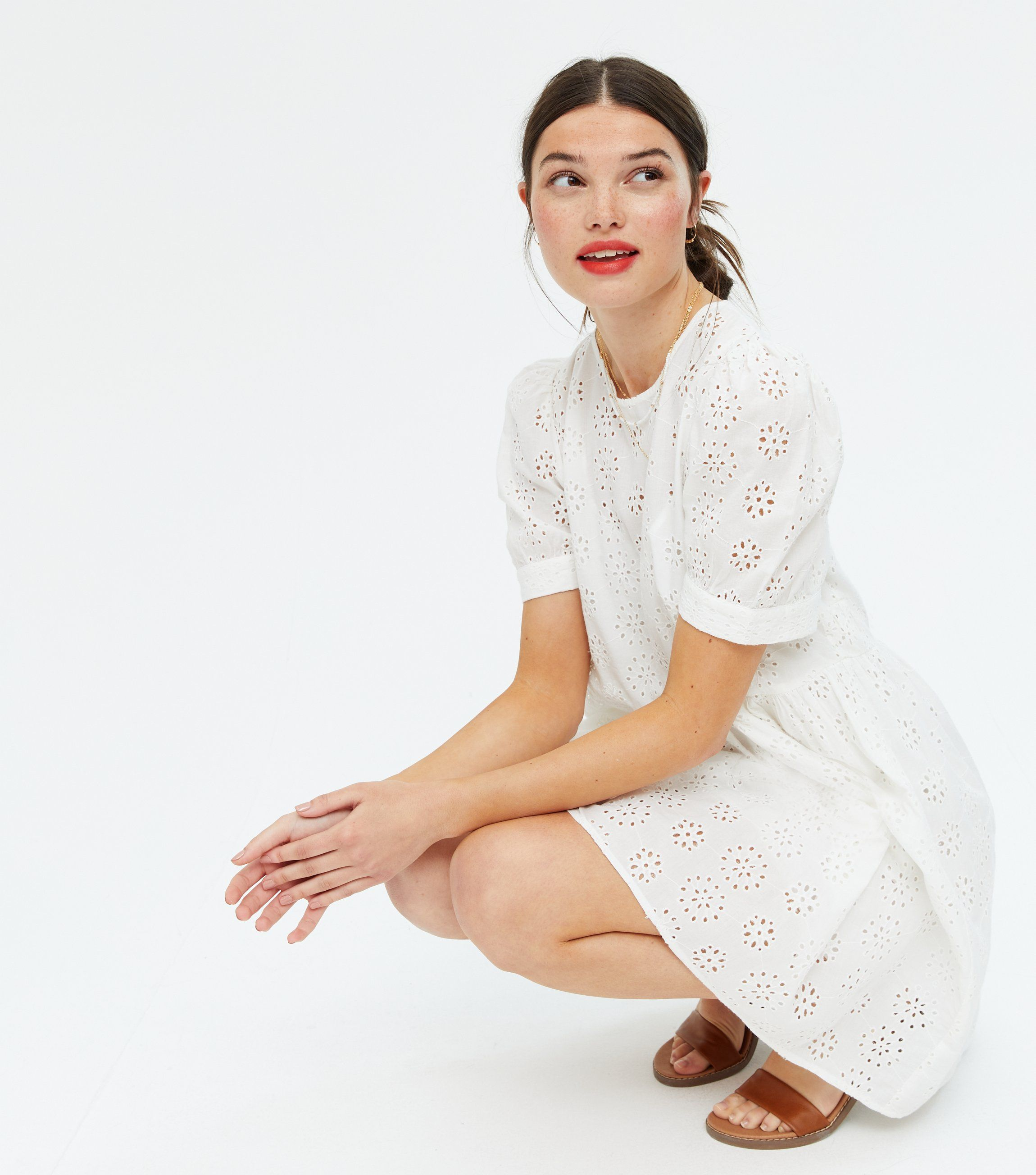 White Broderie Smock Mini Dress Cotton New Look