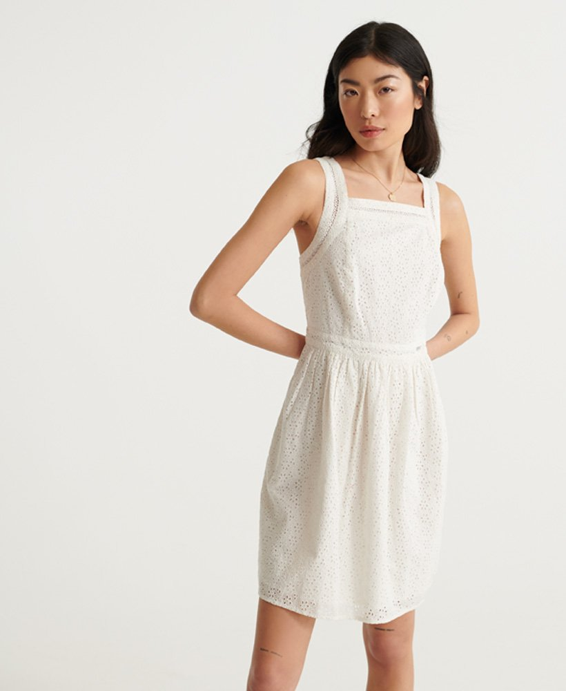 Superdry Blaire Broderie Dress Chalk White 100% Cotton