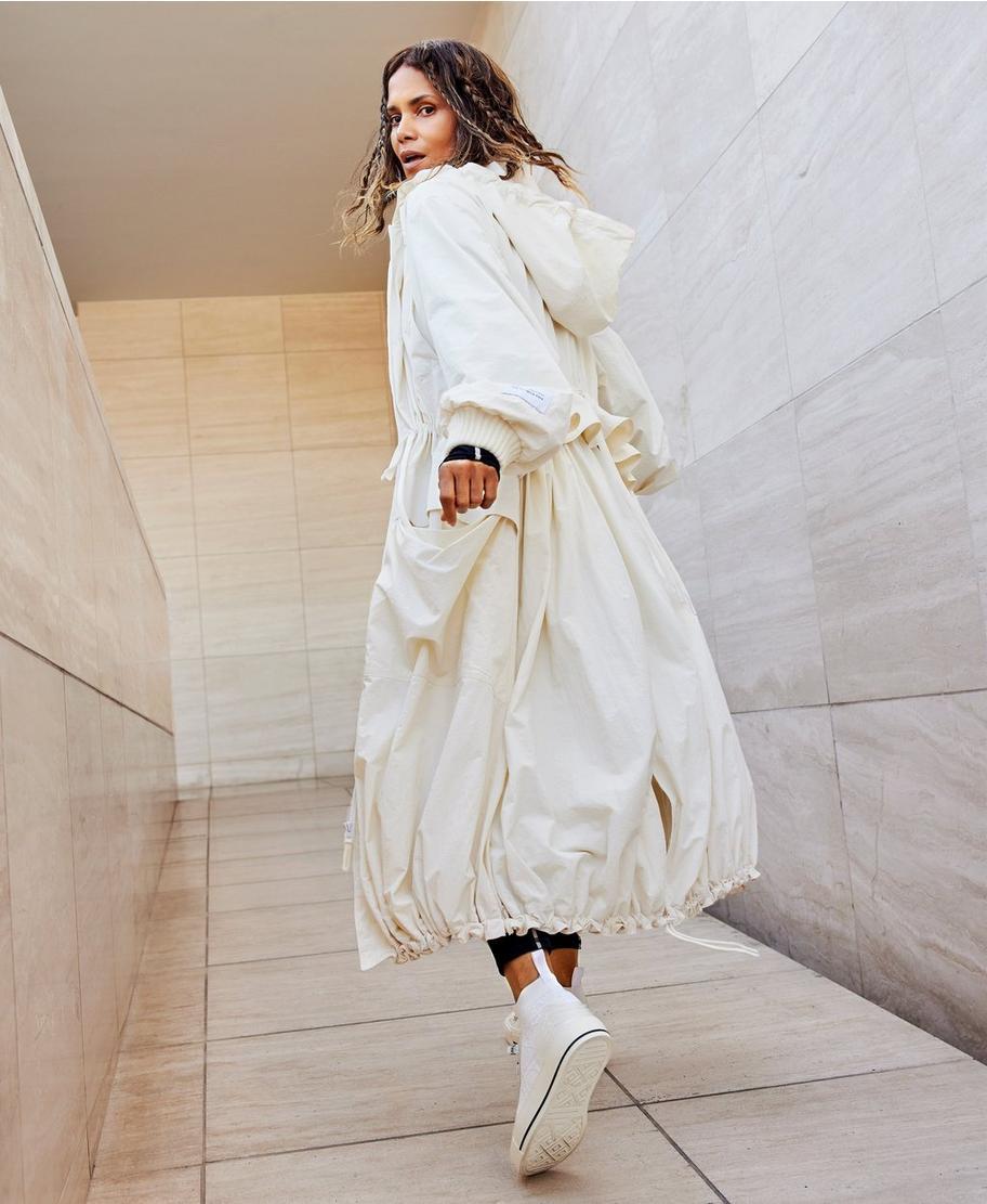 Halle Berry x Sweaty Betty Karla Parka Jacket Lightweight Vanilla White